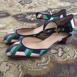 J. Crew Geometric Pattern Block Glitter Heels
